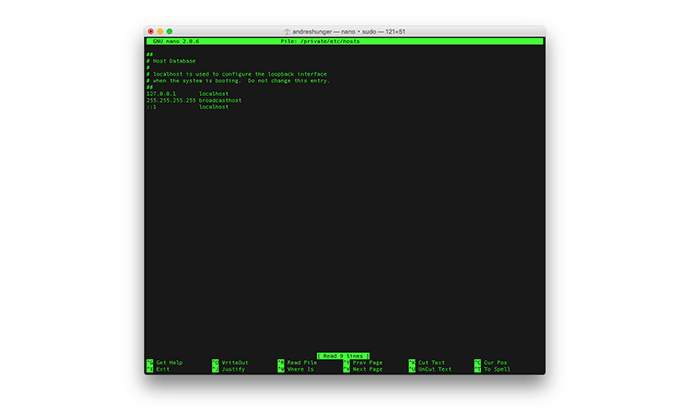 Modificare il file hosts in Mac OS X